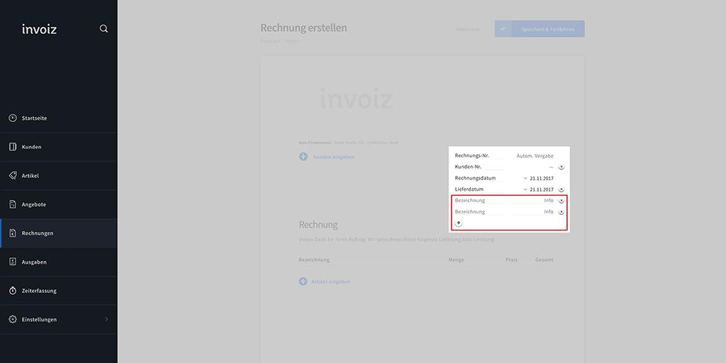 Infobereich in invoiz