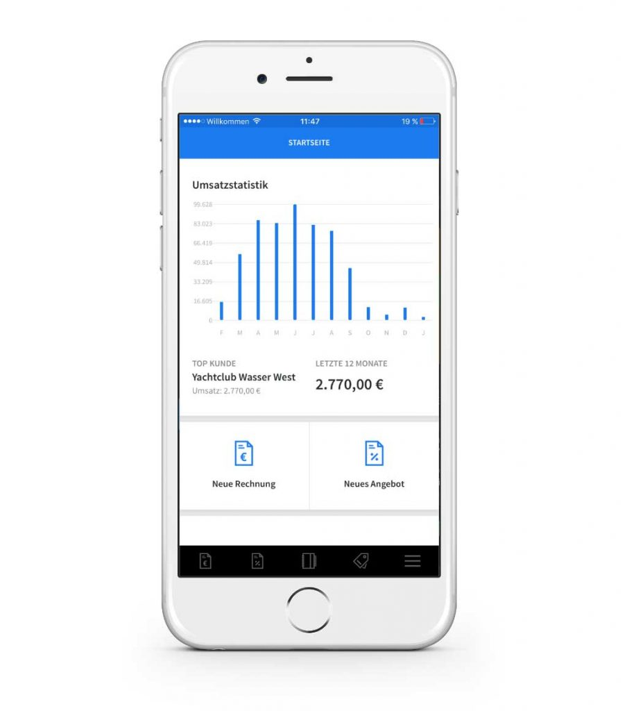 invoiz Startseite der invoiz Apps