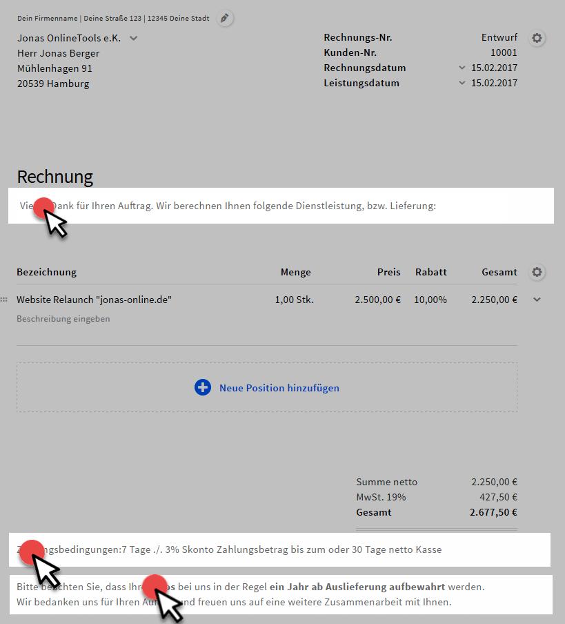 Die Textbaustein Verwaltung Im Rechnungstool Invoiz