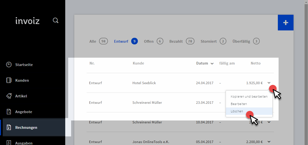 Rechnungssoftware: Sammelrechnungen mit invoiz