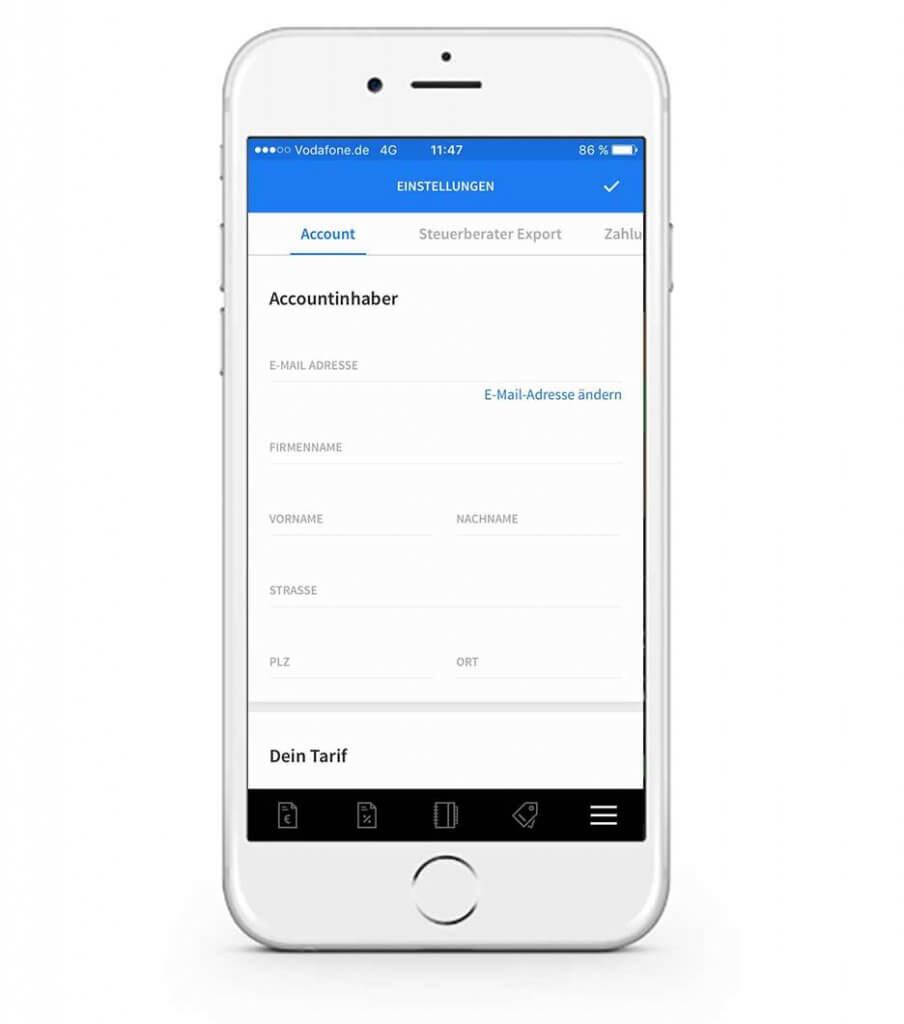 Accountinfos in der mobilen invoiz App ändern