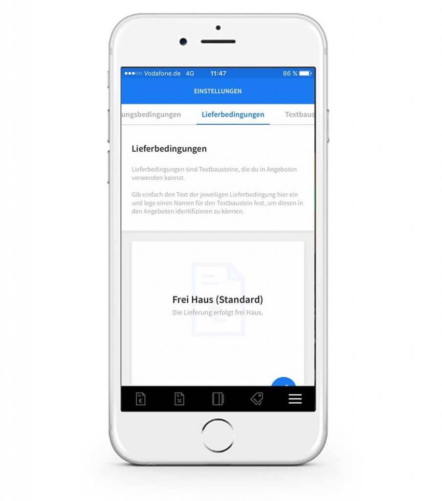 Lieferbedingungen in der mobilen invoiz App ändern