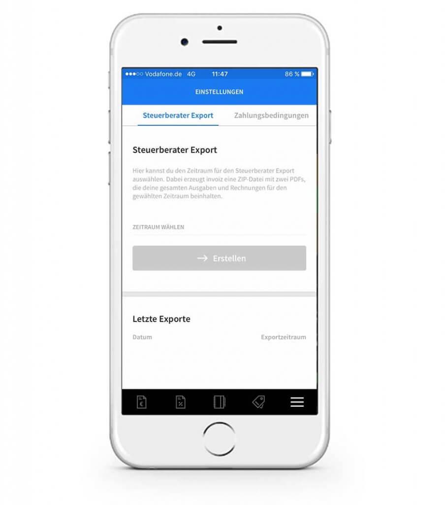Steuerberater-Export in der mobilen invoiz App ändern