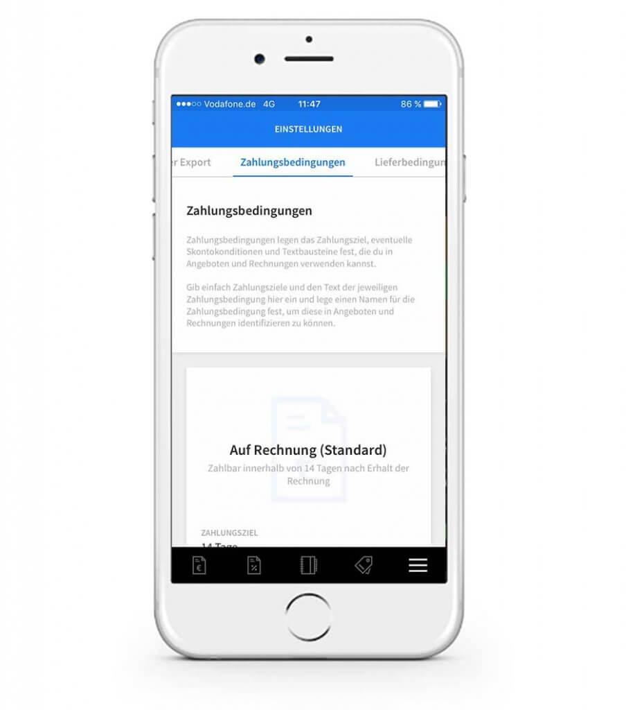 Zahlungsbedingungen in der mobilen invoiz App ändern