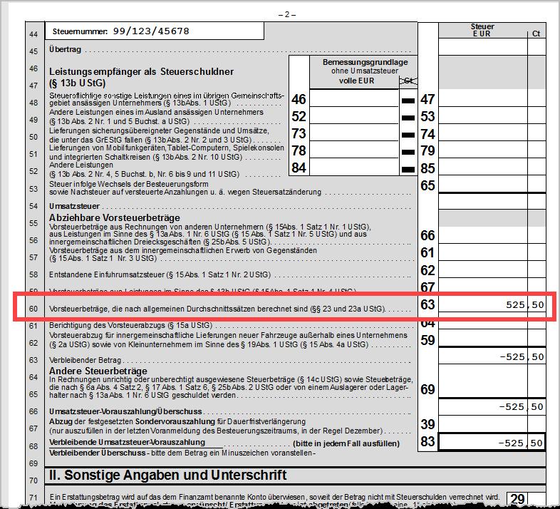 UStVA Vorsteuer Durchschnittssätze