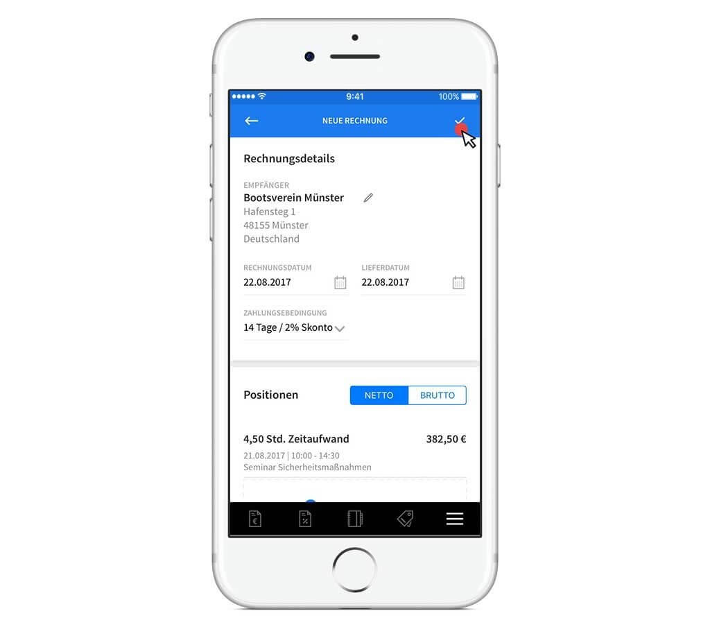 Rechnungsdetails in invoiz