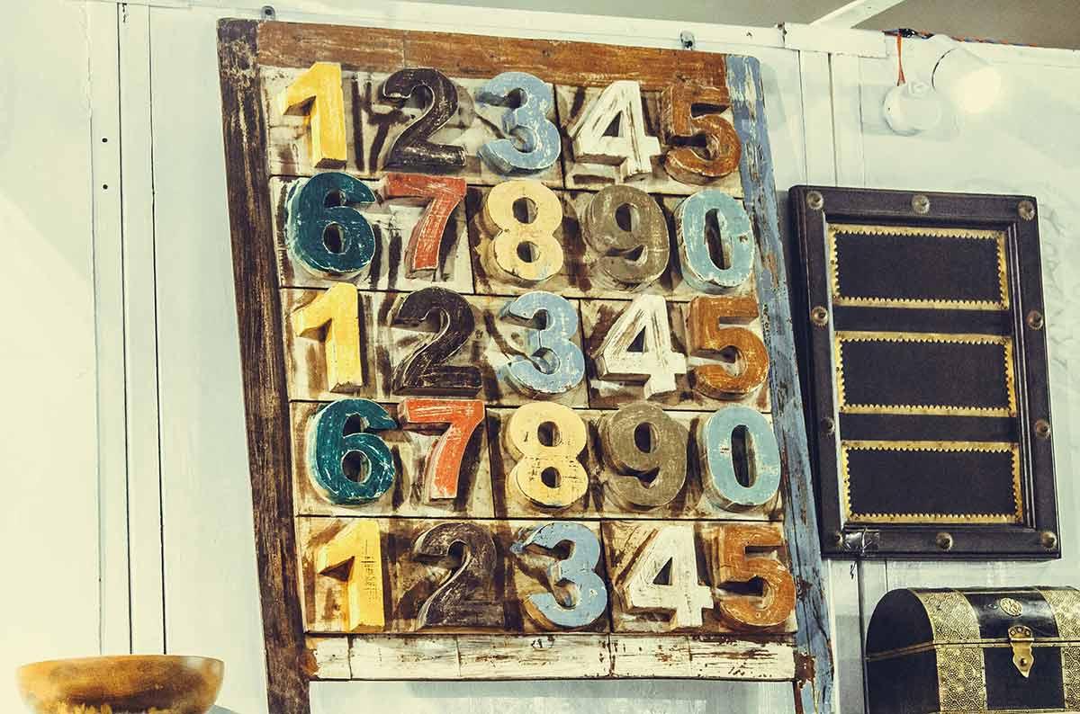 Tafel mit Nummern