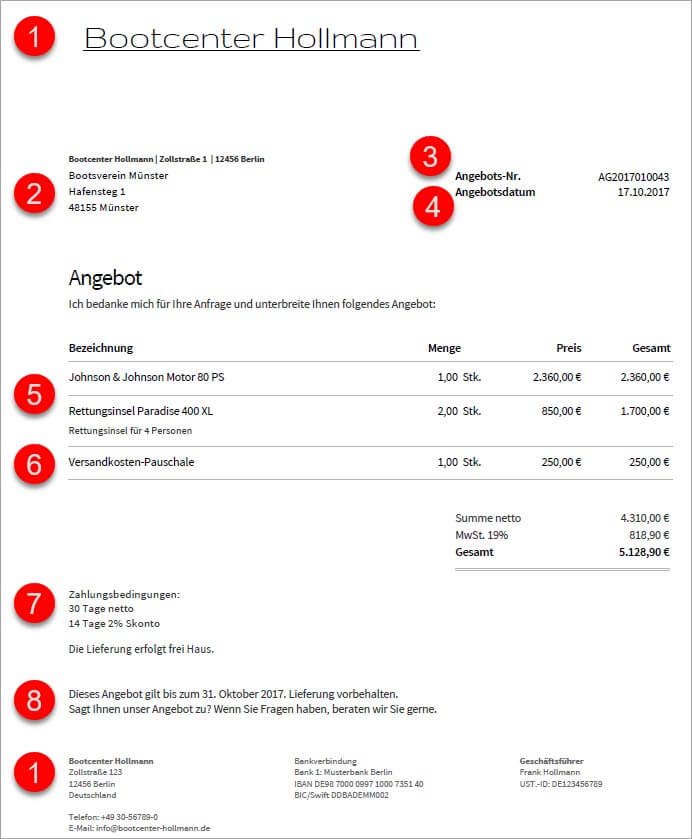 Angebotsbestandteile in invoiz