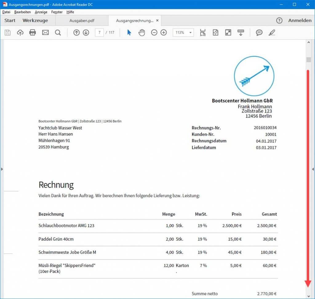 Liste Ausgangsrechnungen in invoiz Teil 2