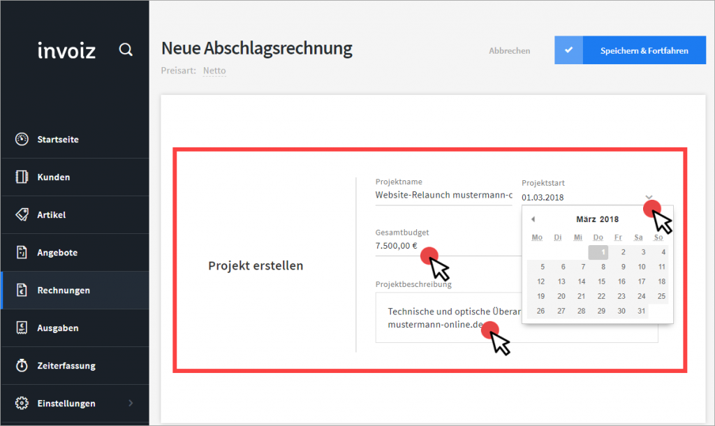 Abschlag-Projekt in invoiz anlegen