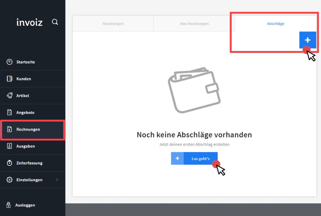 Abschlag invoiz Start