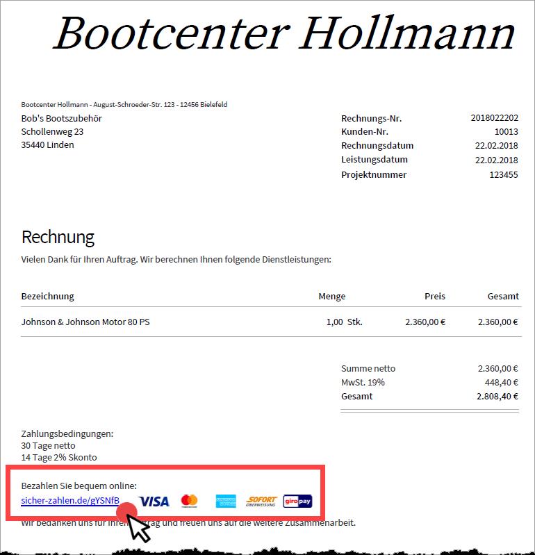 PDF-Rechnung in invoiz