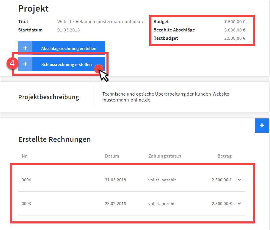 Projektübersicht in invoiz nach Bezahlung Teil 2