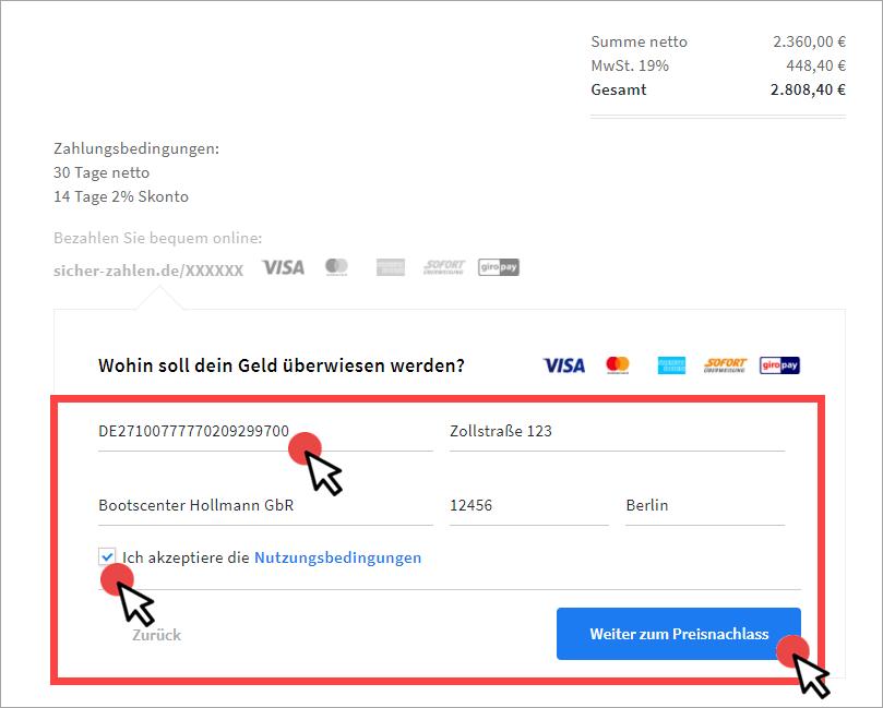 Rechnung in invoiz erstellen Step 1b