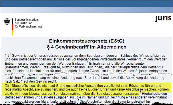 Einnahmen-Überschuss: Auszug aus §4 EStG