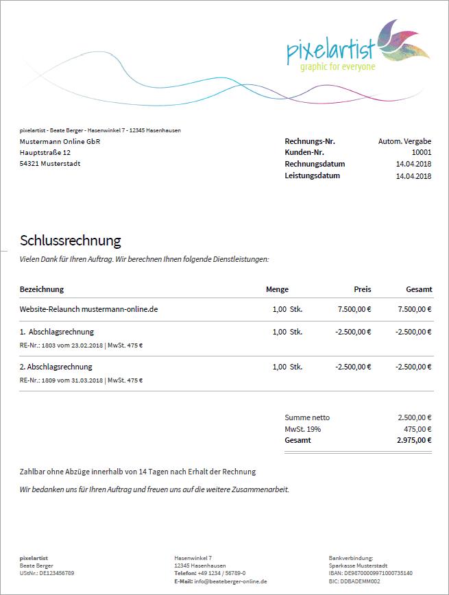 schlusszahlung nach bgb