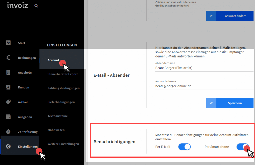 Einstellungen Account in invoiz