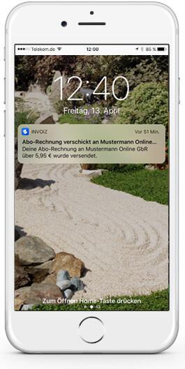 invoiz benachrichtigung Smartphone
