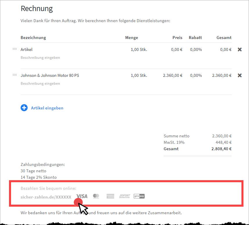 Rechnung in invoiz erstellen Step 1a