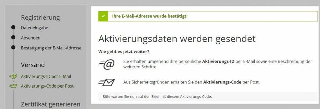Elster E-Mail-Bestätigung Teil 2