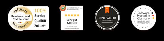 100% Service, Qualität, Zukunft – Ausgezeichnet.org Siegel – Innovator – Software Hosted in Germany