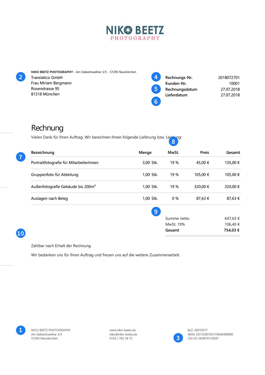 Rechnungsprogramm Invoiz Rechnungsvorlagen