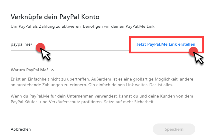 PayPal.Me-Link erstellen