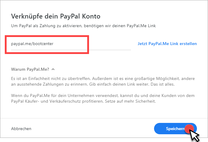 PayPal.Me-Link mit invoizPAY verküpft