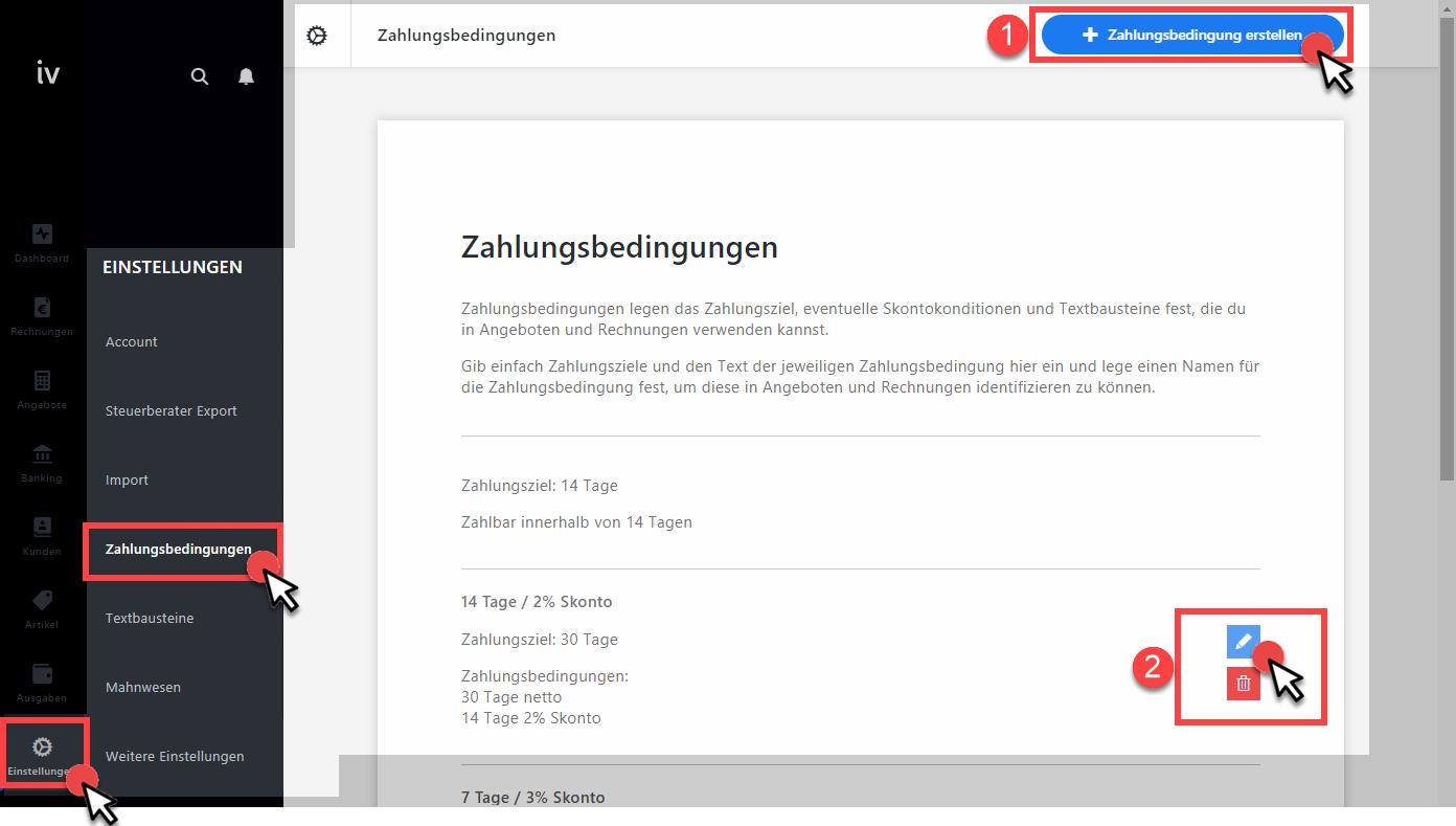 Rabatt berechnen, Zahlungsbedingung anlegen (Screenshot invoiz)