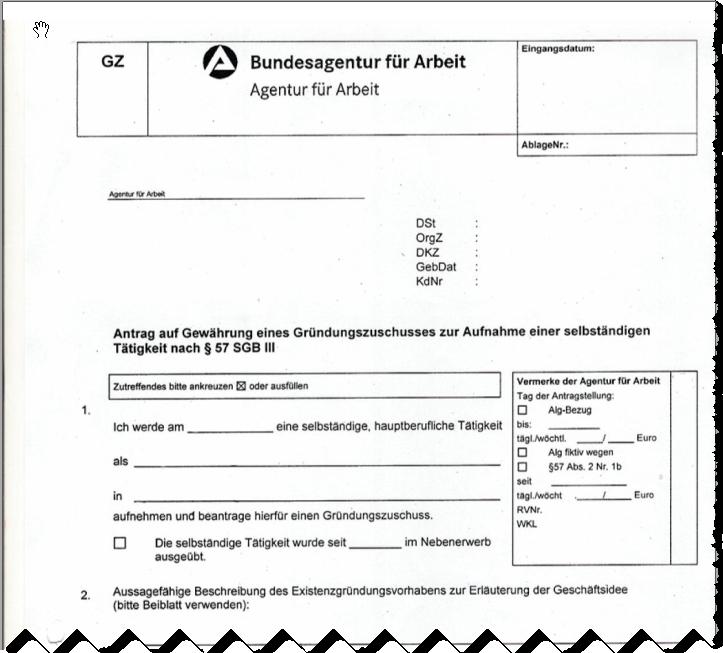 Gründungszuschuss - den Antrag gibt es bei der Arbeitsagentur (Screenshot)