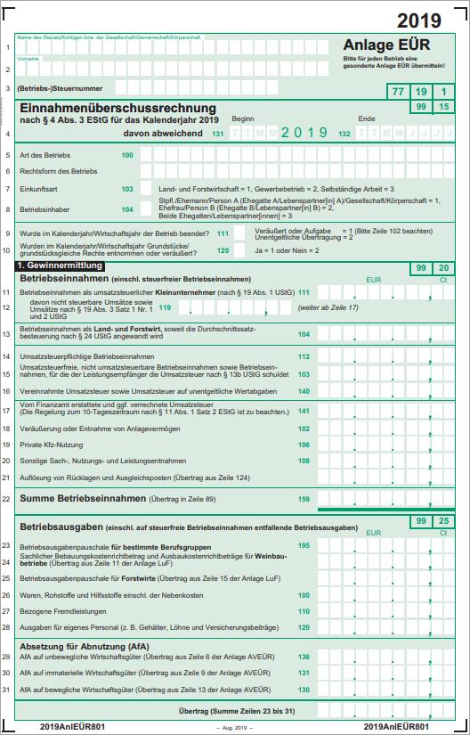 Steuererklärung Selbstständige: Die Anlage EÜR