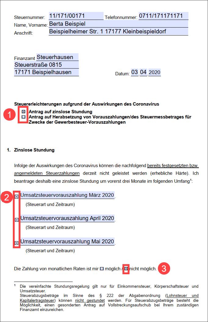 Screenshot Antrag Steuerstundung Corona Seite 1