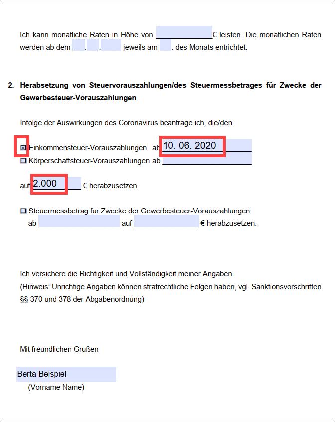 Screenshot Antrag Steuerstundung Corona Seite 2