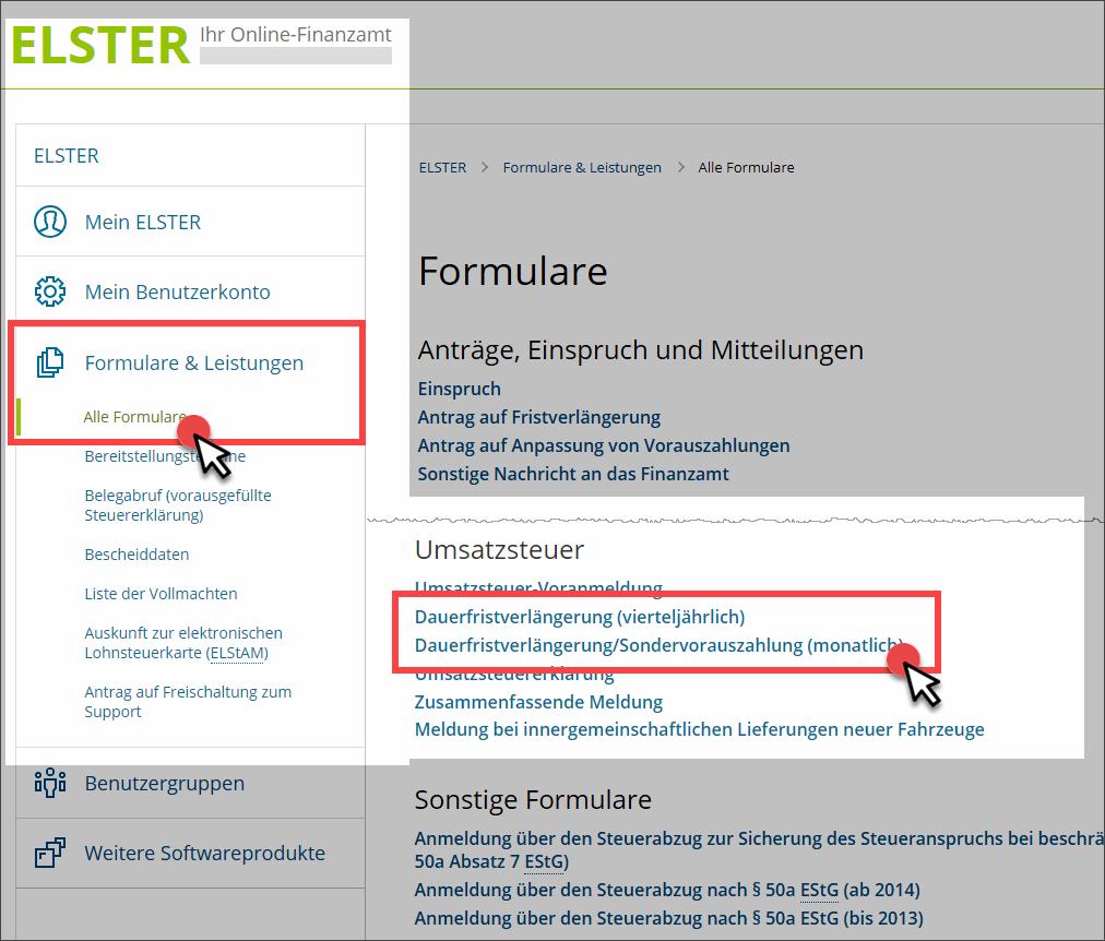 Elster: Antrag auf Dauerfristverlängerung (Screenshot)