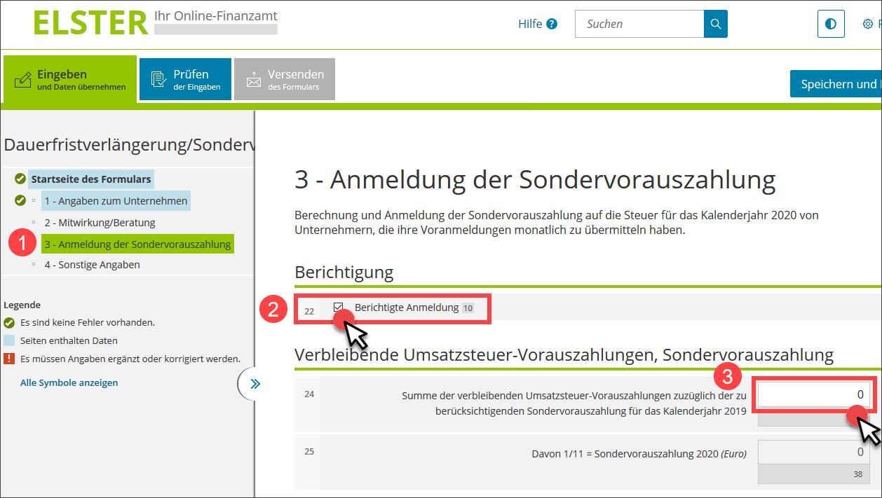 Elster: Sondervorauszahlung auf null setzen (Screenshot)