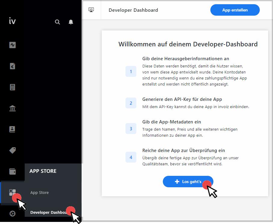 Das Entwickler-Dashboard im App-Store
